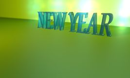 New year text composition 3d illustration. New year`s post and background light Stock Photo