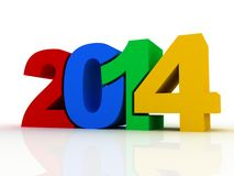 New year 2014 text 3D. On white background Stock Image