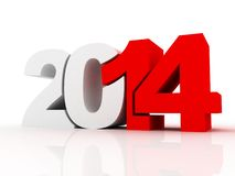 New year 2014 text 3D. On white background stock illustration