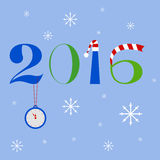New year 2016 text design. With clock on a chain, Santa Claus hat and striped scarf Royalty Free Stock Photo