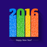 New year text design. 2016 text design. Colorfull design. Vector illustration of numbers 2016 for new year greeting cards, template for ypue design Stock Image