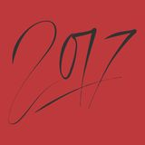 New year 2017 text design . Hand lettering design. Vector. Illustration Royalty Free Stock Photos