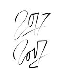 New year 2017 text design . Hand lettering design. Vector. Illustration stock illustration