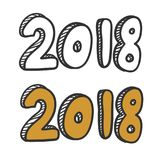 New year 2018 text design . Hand lettering design. Stock Images