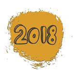 New year 2018 text design . Hand lettering design. Stock Photography