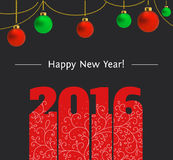 New year text design. 2016 text design with hanging christmas balls. Vector illustration of numbers 2016 for new year greeting cards and other Royalty Free Stock Image