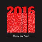 New year text design. 2016 text design.  Red numbers on dark background. Vector illustration of numbers 2016 for new year greeting cards and other Stock Image
