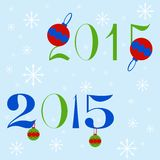 New year 2015 text design. Two variants of New year 2015 text design with Christmas balls and snowflakes Royalty Free Stock Photo