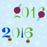 New year 2016 text design. Two variants of New year 2016 text design with Christmas balls and snowflakes Stock Image