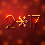 New Year 2017 text design. Vector greeting illustration with golden numbers and snowflake Stock Images