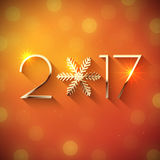 New Year 2017 text design. Vector greeting illustration with golden numbers and snowflake Royalty Free Stock Images
