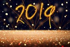 New Year text 2019, fireworks, stars sky, glittered floor, abstract background. New Year text 2019, fireworks, stars sky, glittered floor, background stock photography