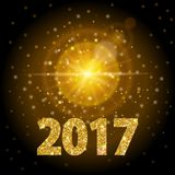 New Year 2017 text gold color, bright light, background realistic golden light. Efect glow lens modern design. Abstract ill. Ustration royalty free illustration