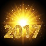New Year 2017 text gold color, bright light, background realistic golden light. Efect lens glow bright modern design abstraction. Vector illustration vector illustration