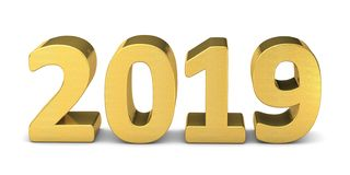 New year text gold 2019 3d. Rendering Stock Illustration