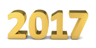 New year text gold 2017 3D. Rendered Stock Images