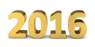 New year text gold 2016 3D Stock Photo