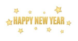 New Year text of golden glitters. Festive background for the flyer. Christmas golden stars. Golden glitter. Golden sand. Vector. Illustration Royalty Free Stock Images