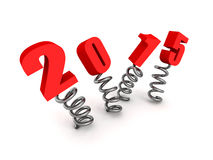 New year 2015 text jump on springs. 3d render illustration Royalty Free Stock Photos