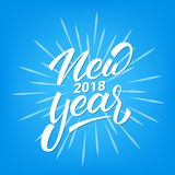 New Year 2018 text lettering design. Christmas and New Year greeting typography.  Royalty Free Stock Images