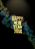 New Year 2014 Text lights effect. Happy new year 2014 text in glow colorful background Royalty Free Stock Image