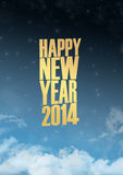 New Year 2014 Text lights effect. Happy new year 2014 text in glow colorful background Royalty Free Stock Photo