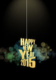 New Year 2015 Text lights effect. Happy new year 2015 text in glow colorful background Stock Photos