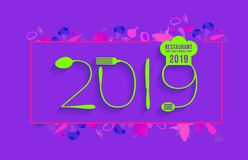 2019 new year text made number with spoon and fork vector illustration