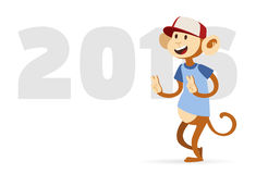 New Year text and monkey design vector. Illustration on white background. 2016 text and happy monkey  on white background. Monkey 2016 new year background Royalty Free Stock Photos