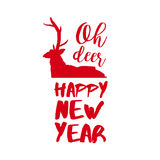 New Year text quote typography deer illustration Stock Photo