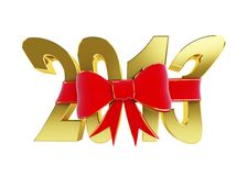 New year text red bow Royalty Free Stock Image
