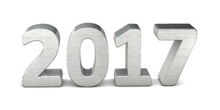 New year text silver 2017 3D. Rendered Stock Image