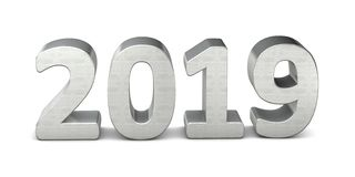 New year text silver 2019 3d. Rendering Stock Illustration