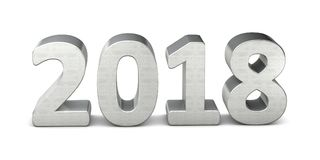 New year text silver 2018 3d rendering Royalty Free Stock Photos