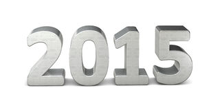 New year text silver 2015 3D. With shadow Vector Illustration