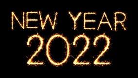 New Year 2022 Text Sparkler Glitter Sparks Firework Loop Animation. New Year 2022 Text Sparkler Writing With Glitter Sparks Particles Firework on Black 4K Loop stock video
