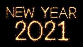 New Year 2021 Text Sparkler Glitter Sparks Firework Loop Animation. New Year 2021 Text Sparkler Writing With Glitter Sparks Particles Firework on Black 4K Loop stock video