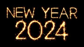 New Year 2024 Text Sparkler Glitter Sparks Firework Loop Animation