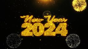 New Year 2024 Text wish on Firework Display Explosion Particles.
