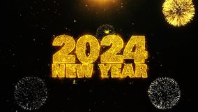 2024 New Year Text wish on Firework Display Explosion Particles.