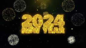 2024 New Year text wish on gold particles fireworks display.