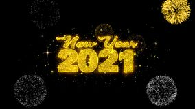 New Year 2021 text wish reveal on glitter golden particles firework.