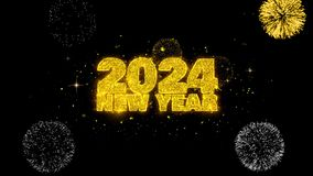 2024 New Year text wish reveal on glitter golden particles firework.