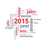 2015 new year text word cloud square greeting card. 2015 new year multilingual text word cloud square greeting card Royalty Free Stock Photos