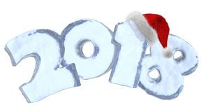 New Year 2018 blue ice text with red hat. New Year 2018 text written with numbers made of clear blue ice with Santa Claus fluffy red hat, new year 2018 winter Stock Photo