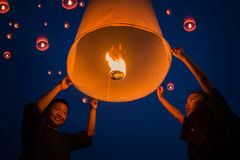 New year, Thai people floating lamp Royalty Free Stock Photography