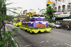 New year in thailand parade on holiday car decorated with flower. Beautiful decorated cars with flowers and fabrics for the new year Thailand, Bangkok, April 12 Stock Image