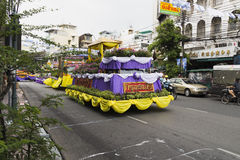 New year in thailand parade on holiday car decorated with flower. Beautiful decorated cars with flowers and fabrics for the new year Thailand, Bangkok, April 12 Royalty Free Stock Photo