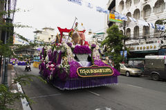 New year in thailand parade on holiday car decorated with flower. Beautiful decorated cars with flowers and fabrics for the new year Thailand, Bangkok, April 12 Royalty Free Stock Photography