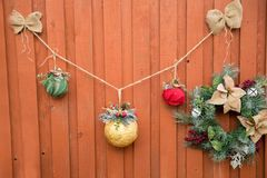 Decorative fence for Christmas. Seasonal background. Happy holidays Royalty Free Stock Photography